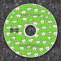 绿色卡通猫头可爱CD设计