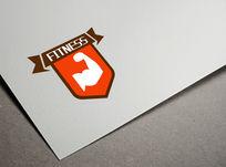 橘色创意健身logo