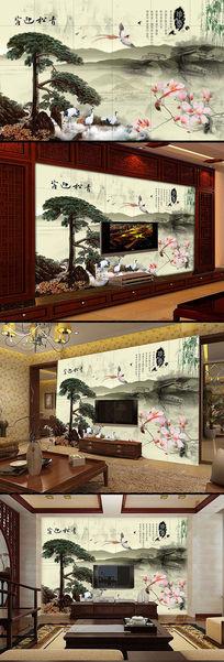山水风景古典中式电视背景墙装饰画