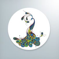 唯美彩色孔雀插画