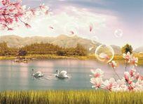 现代简约田园玉兰湖水天鹅湖泊草地蓝天白云气泡背景墙