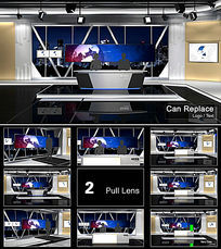 新闻联播虚拟三维演播室视频模板