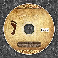 棕色脚印古典花纹CD贴纸设计