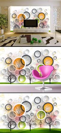 3D立体创意抽象树电视背景墙