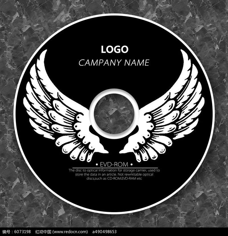 黑色翅膀卡通个性cd光盘设计图片