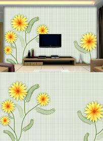 简约手绘雏菊电视背景墙