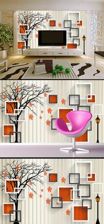 立体方框抽象树枫叶电视背景墙壁画 TIF