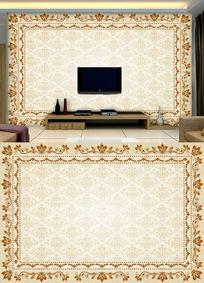 欧式皇室花纹电视背景墙
