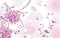 现代简约田园抽象花卉牡丹玫瑰藤条藤蔓花纹背景墙
