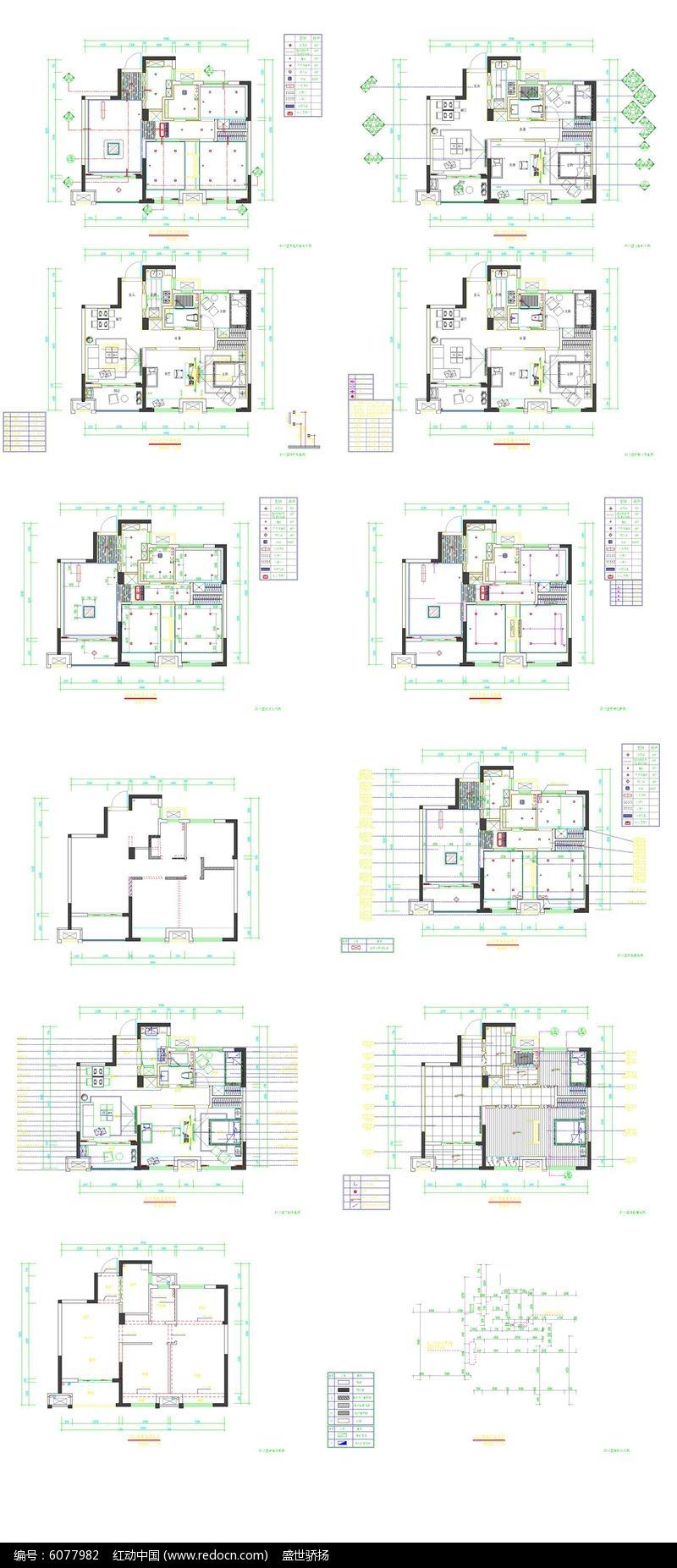 家居户型结构平面图dwg素材下载_室内装修设计图片