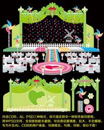 绿色婚礼舞台背景设计婚庆背景设计模板