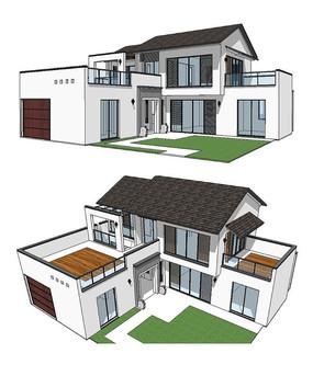 现代民居别墅建筑草图大师SU模型