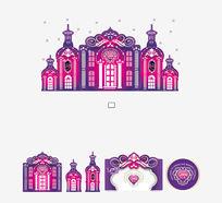 紫色城堡造型背景墙
