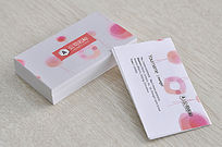 粉色化妆品名片模板设计
