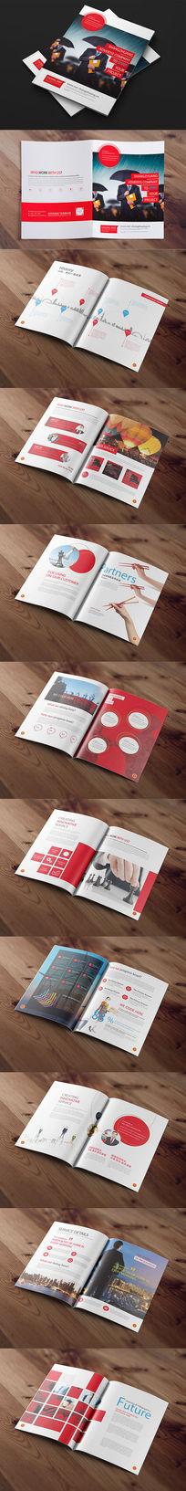 红色商务企业画册