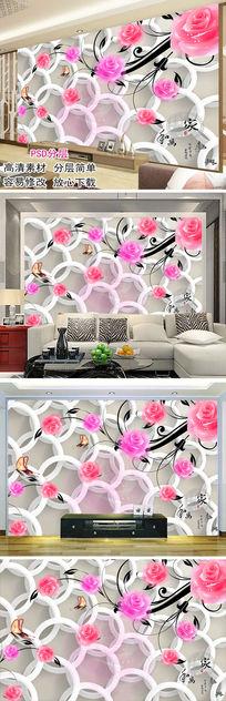 玫瑰3D立体背景墙装饰画