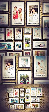 温馨照片墙婚纱照相册片头模板