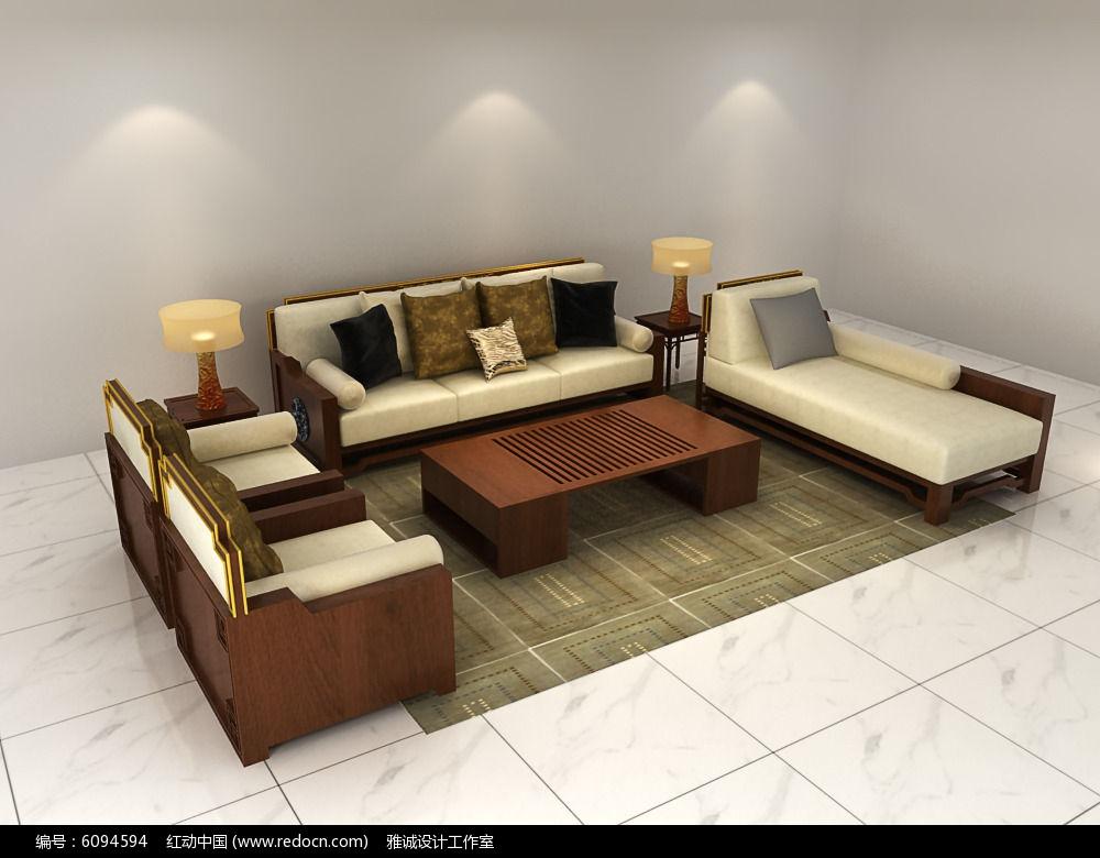 中式沙发茶几组合3d模型3dmax素材下载