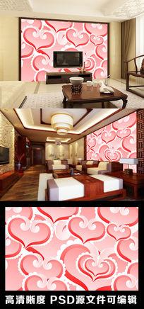 粉色心形爱心爱情浪漫电视背景墙