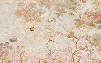 复古花鸟大理石纹理背景新中式复古电视背景墙