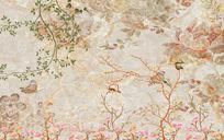 复古花鸟大理石纹理背景中式复古高清电视背景墙