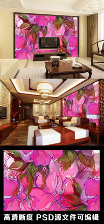 简约手绘抽象油画风格电视背景墙