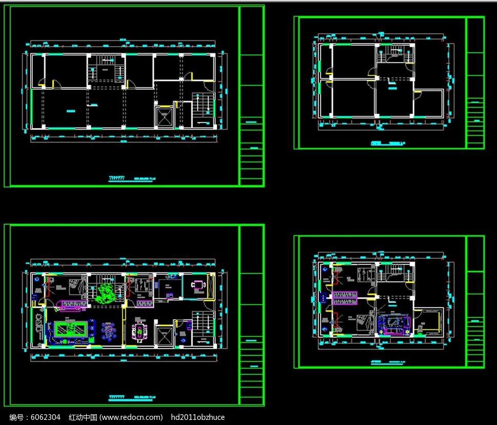 简约中式cad家庭室内装修设计施工图纸
