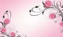 现代简约田园玫瑰花纹藤蔓背景墙