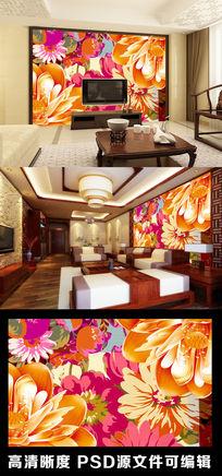 中式中国风传统牡丹荷花花朵电视背景墙