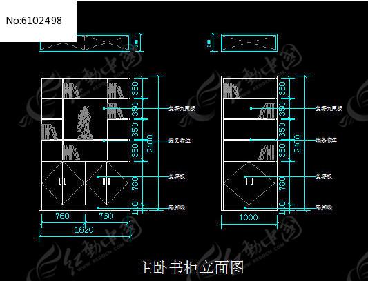 主卧图纸立面图CAD素材下载_书柜CAD图纸设t家装预制梁图片