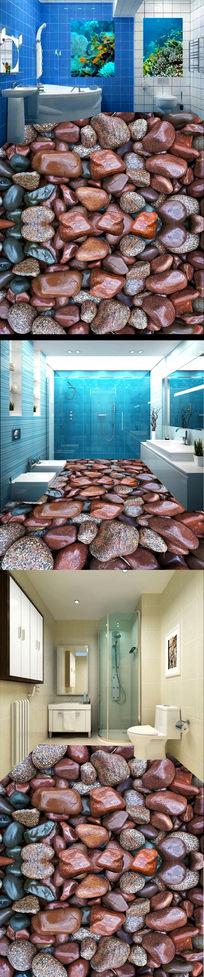 3D鹅卵石石纹地板地贴设计