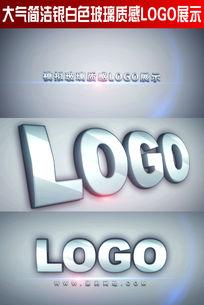 大气简洁银白色玻璃质感LOGO展示
