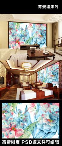 简约现代手绘牡丹国花素描电视背景墙