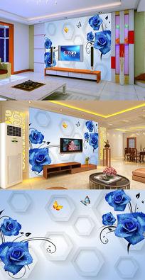 蓝色玫瑰花纹六边形电视背景墙