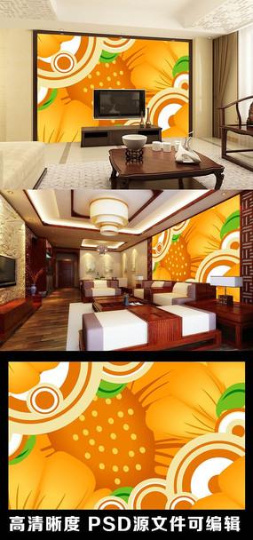 现代简约花朵花瓣清新橙色圈圈电视背景墙
