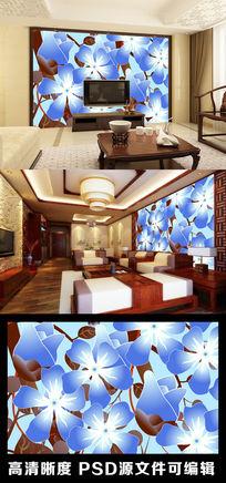 现代简约花朵花瓣清新淡蓝色四叶草电视背景墙