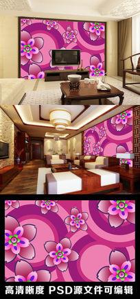 现代简约色彩色块彩虹花纹花卉花朵电视背景墙
