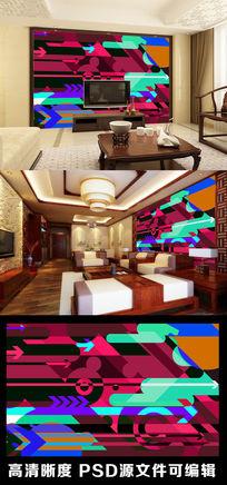 现代简约艺术感色块色彩几何图形电视背景墙