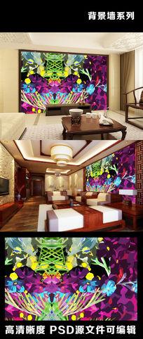 现代简约油画风格抽象电视背景墙