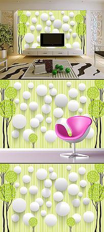 3D立体手绘抽象树客厅电视机背景墙