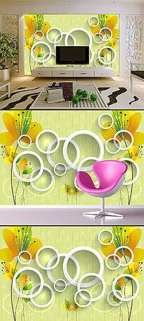 创意黄色花卉3D圆圈圆立体背景墙