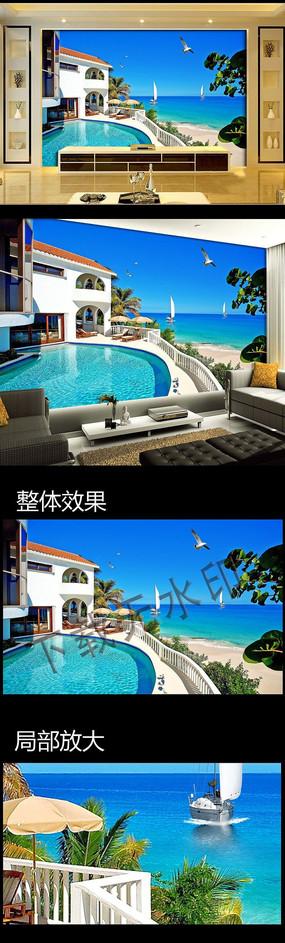 高档豪华别墅3D游泳池背景墙壁画