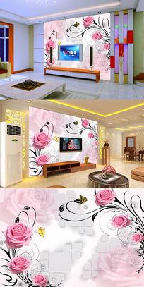 玫瑰花纹方块蝴蝶电视背景墙