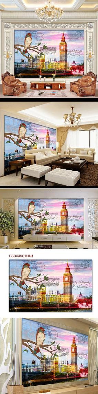 欧式风格插画电视背景墙