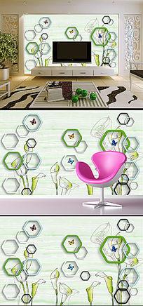 素雅清新3D立体花卉电视背景墙装饰画