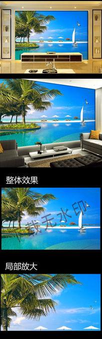 希腊爱琴海风景电视背景墙装饰画下载