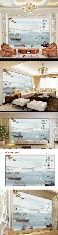 中国风山水情国画电视背景墙