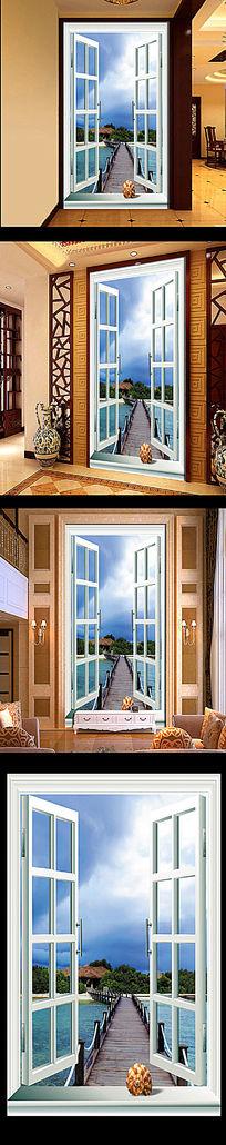 3D窗外马尔代夫爱情海风景玄关 PSD
