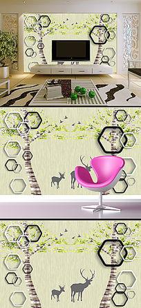 3D立体框手绘抽象树驯鹿电视背景墙