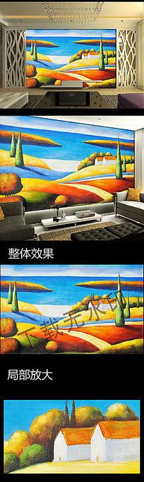 抽象油画电视沙发背景墙